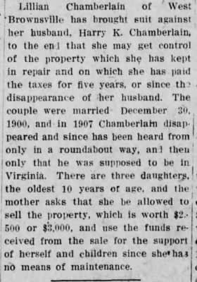 Harry K Chamberlain 1912 Wife Suit re Disappearance.jpg