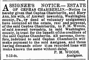 Cephas Chamberlin 1876 Voluntary Assignmt Notice.JPG