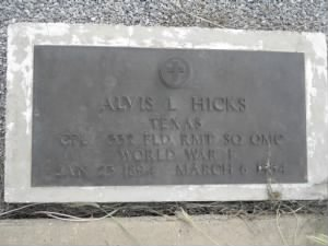 Alvis L. Hicks Headstone.jpg