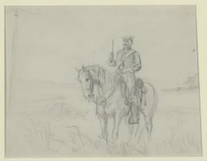 His pistol drawn, a Union cavakryman sits on his horse while scouting in Virginia during the Civil War.jpg