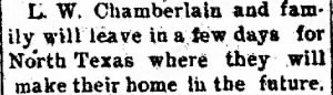 L W Chamberlain 1899 Moving to N. TX Soon.png