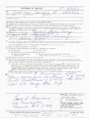 SR Bierman WWI Service request.jpg