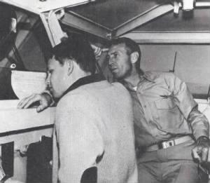 Captain Morrison and his son Jim on the bridge of the Bon Homme Richard in January 1964.jpg