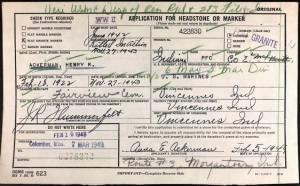 U.S., Headstone Applications for Military Veterans, forHenry R Ackerman