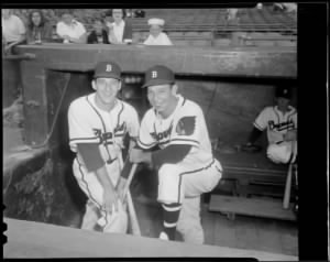 Warren Spahn and Vern Bickford in Braves Field.jpg