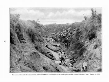 Fold3 Image - Allies take over German trench on August 10, 1918. Dead German soldiers are seen in trench.