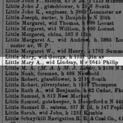 Little Mary A., wid Lindsay, h 1645 Philip