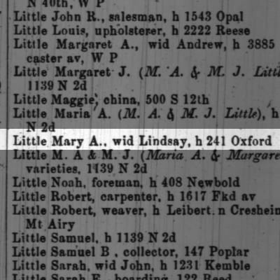 Little Mary A., wid Lindsay, h 241 Oxford