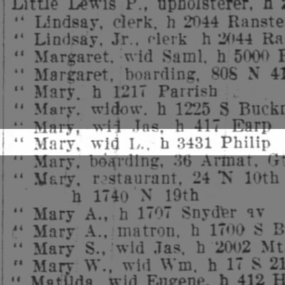 Little Mary, wid L., h 3431 Philip