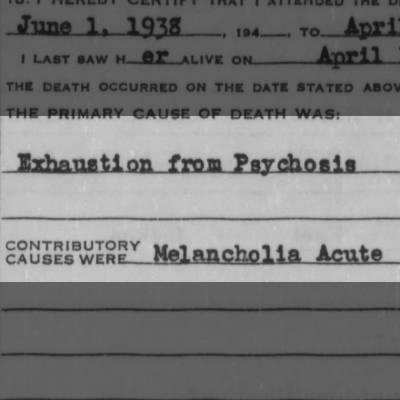 Death blamed on exhaustion from melancholia and psychosis