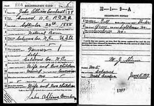 John Allison Earnhardt WWI Draft Card